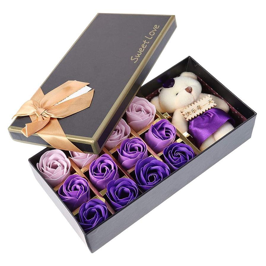ローンリズム外出Beaupretty バレンタインデーの結婚式の誕生日プレゼントのための小さなクマとバラの石鹸の花