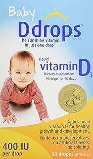 Ddrops 婴幼儿维生素D滴剂 400 IU 90滴 2.5mL (0.08盎司) 【海外卖家直邮】