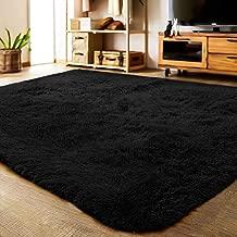 LOCHAS Ultra Soft Indoor Area Rug Thick Shaggy Bedroom Living Room Carpets for Kids Nursery Room, 5.3 x 7.5 Feet Black