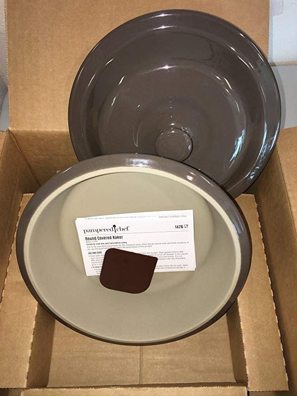 Pampered Chef Round Covered Baker Stoneware With Scraper 1476