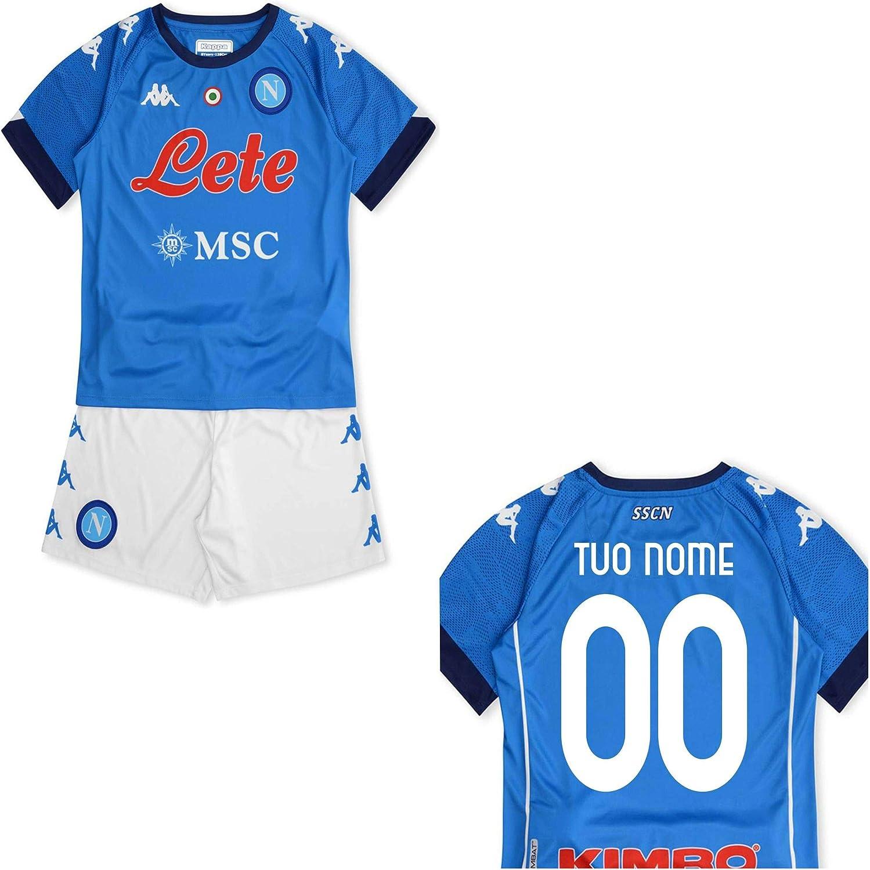 MINIKIT Gara Home Bambino (Maglia E Pantaloncino) SSC Napoli 20/21 Personalizzata Personalizzabile (OSIMHEN, Mertens, INSIGNE, PETAGNA, MANOLAS)