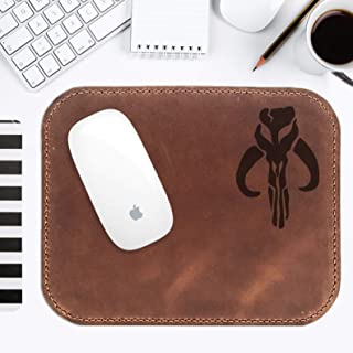 Star Wars Mouse Pad Mandalorian, Leather Mouse Mat For Men, Handmade Leather Mouse Pad Personalized, Gift for Him, Boyfriend Gift, Husband Gift, Crazy Horse Leather