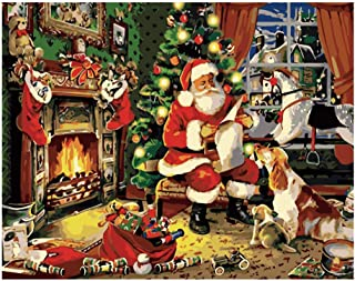 DIY Paint by Numbers for Adults Kids Paint by Numbers Christmas DIY Painting Acrylic Paint by Numbers Painting Kit Christmas Santa Claus Home Wall Living Room Bedroom Decoration