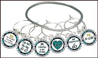 60th birthday wine glass charms