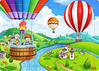 Yobooom Wood Jigsaw Puzzles 60 Pieces for Kids Ages 4-8 Hot Air Balloon