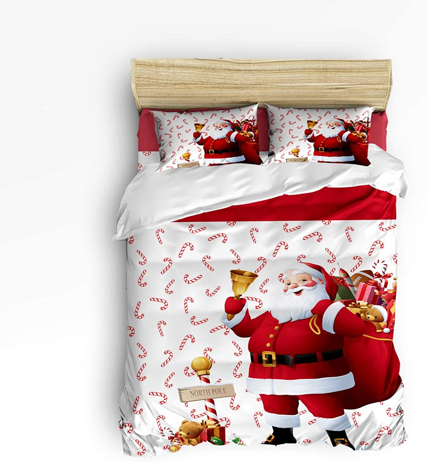Fandim Fly Bedding Set Queen Size, Giving Presents Santa Claus Christmas Decor,Comforter Cover Sets for All Season
