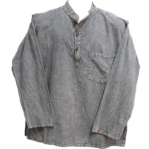 d1f11993a1 Mens Bohemian Cotton Yoga Clothing Tie-Dye Tree of Life Kurta Tunic (Gray)