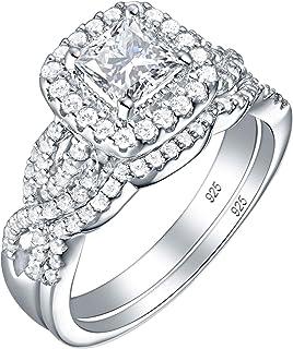 Wuziwen Princess Cut Engagement Ring Wedding Band Set 925 Sterling Silver Cubic Zirconia Cz