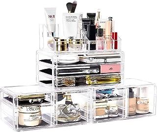 DreamGenius Makeup Organizer 4 Pieces Acrylic Makeup Storage Organizer Box with 9 Drawers for...