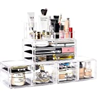 DreamGenius Makeup Organizer 4 Pieces Acrylic Jewelry and Cosmetic Storage Display Boxes with 9...