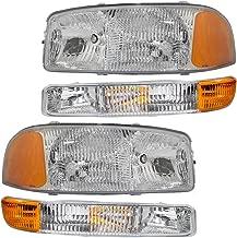 4-Piece Set Headlights & Signal Marker Lamps for 99-07 GMC Sierra Pickup Truck & 00-06 Yukon/XL Replaces 15199560 15199561 15850351 15850352