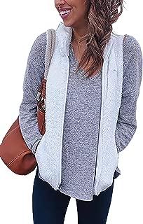 Alelly Women's Casual Soft Front Zip Waistcoat Sleeveless Lightweight Warm Fuzzy Sherpa Fleece Vest with Pockets
