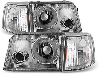 ACANII - For 1993-1997 Ford Ranger Headlights+Corner Signal Lamps w/Build-In Fog Lights 93-97 Driver + Passenger Side
