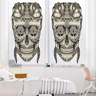 Day of The Dead Decor 3D No Glue Static Decorative Privacy Window Films, Spanish Sugar Skull with Floral Accessories and Feather Earrings,17.7