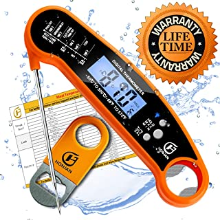 HONJAN Instant Read Food Thermometer Digital Waterproof for Kitchen Cooking with Backlight and Calibration Feature(Orange)