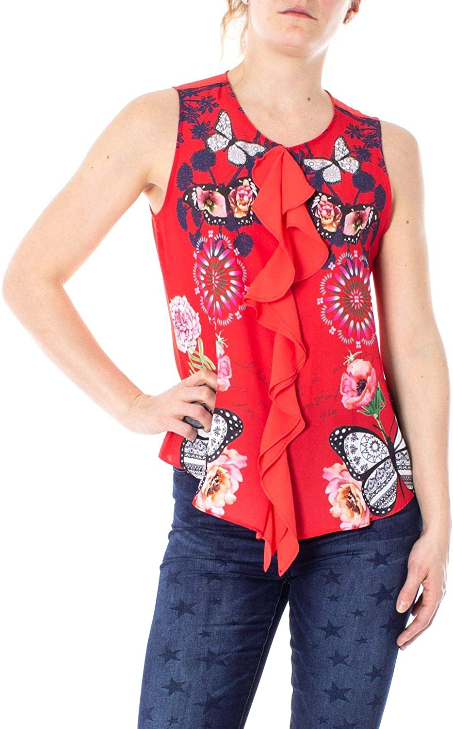 Desigual Women's 19SWBW91RED Red Polyester Tank Top