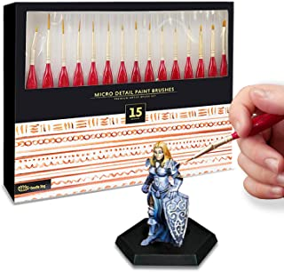 15pc Miniatures Paint Brush Set - Mini Painting Art Brushes. Perfect for DND, Warhammer, Scale Model Painting, Nail Art, F...