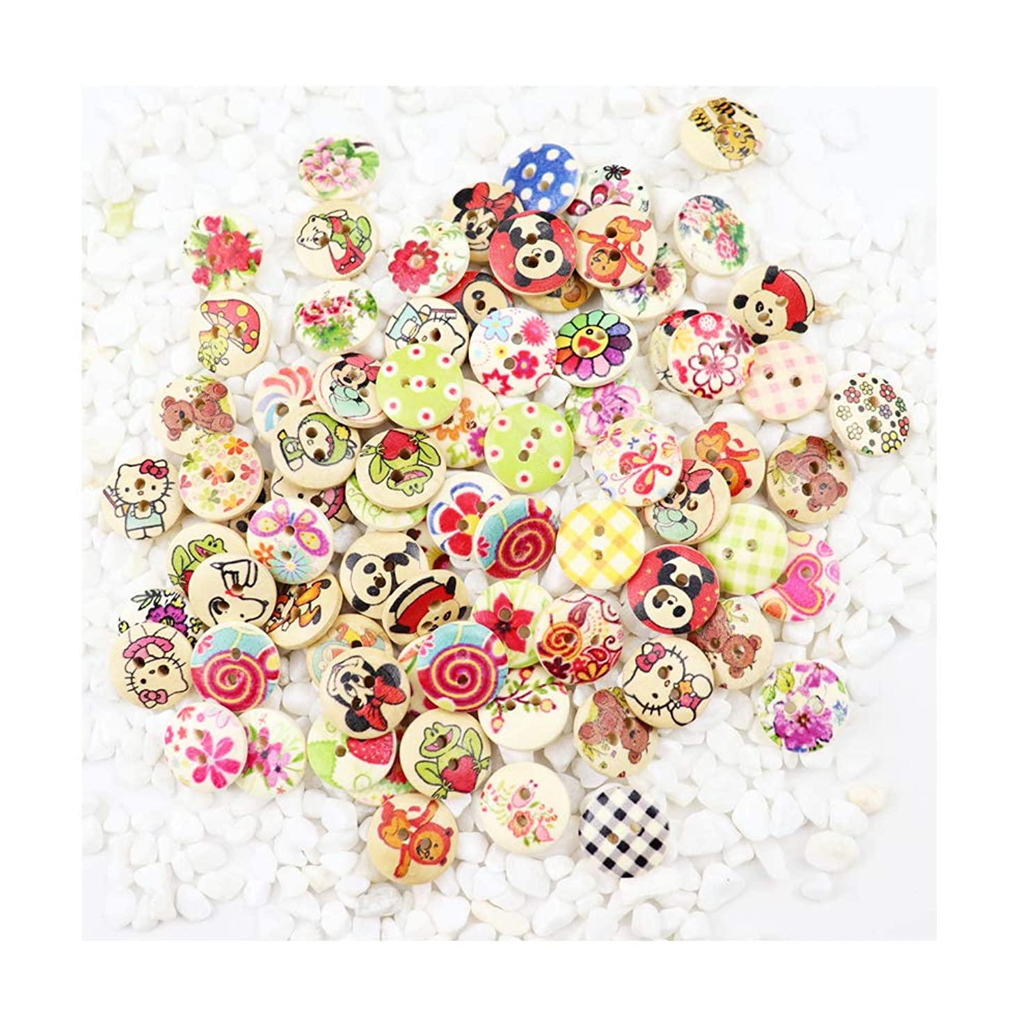 WYSE 200pcs Mixed Kids Cartoon Animal Buttons with 2 Holes for Sewing Scrapbooking and DIY Craft 15mm(Cartoon)