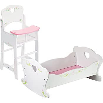 Dolls Pink Wooden Rocking Cradle Crib Cot Bed & High Chair