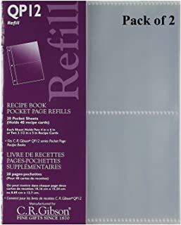 C.R. Gibson QP-12 Small Recipe Book Pocket Page Refill 20 Sheets (Pack of 2) …