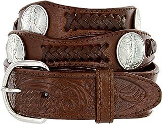 Hagora Men Star Badge Floral Embossing Silvered Buckle 1-1//2 Wide Leather Belt