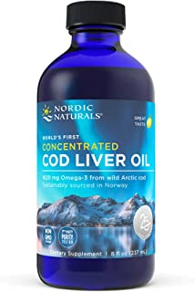 Nordic Naturals Concentrated Cod Liver Oil, Lemon - 8 oz - 1620 mg Omega-3 with EPA & DHA - Heart, Brain & ...