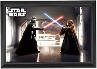 Star Wars Darth Vader & Obi Wan Wall Art Decor Framed Print | 24x36 Premium (Canvas/Painting Like) Textured Poster | A New Hope Movie Trilogy Jedi Light Saber Battle | Gifts for Guys & Girls Bedroom