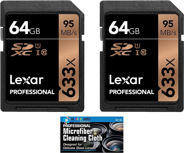 Lexar 64GB Professional 633x SDXC Class 10 UHS-I/U1 Memory Card 2-Pack Bundle (Product Label May Vary)