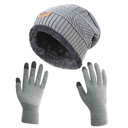 51d2422223126 HINDAWI Winter Slouchy Beanie Gloves for Women Knit Hats Skull Caps Touch  Screen