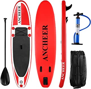 ANCHEER 10' Inflatable SUP Stand Up Paddle Board Package (6'' Thick), iSUP Board with 3 Fins, Adjustable Paddle, Pump and Travel Backpack (DA02-R)