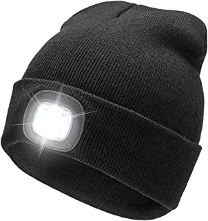 Sponsored Ad - BO KAI LUN USB Rechargeable LED Beanie Cap, Lighting 4 LED Hands Free Flashlight, Easy Install Quick Releas...