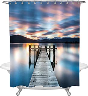 Sunrise on Lake Dock Art Shower Curtain, Wooden Pier on Calm Lake with Magnificent Mountains and Sky Background Home Ornaments, Blue, Grey, 72 W x 72 L inches for Bathroom Shower Tub