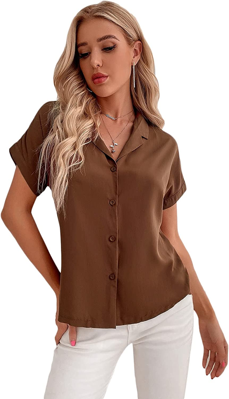 Verdusa Women's Button Down Blouse Top Short Sleeve Lapel Collar Shirt