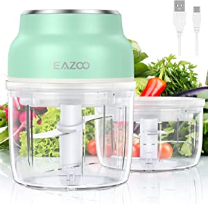 Electric Garlic Chopper Mini with 2 Containers, EAZOO Portable Cordless Mini Food Chopper with USB Charging, Small Food Processor for Garlic Onion Veggie, Dicing, Mincing & Puree, Fruit Salad, BPA Free ( 1 Cup & 1.5 Cup )