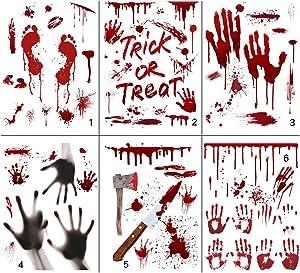 Scary Halloween Decorations, 6 Pcs Red Blood Hand-Print & Foot Print Window Stickers, 45x30cm self-Adhesive Halloween Scary Wall Stickers with Blood Stained, PVC Terror Door Pastes Halloween Party Supplies