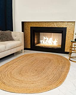Natural Area Oval Rugs 100% Natural Fiber Handmade Reversible Elsinore Jute 5' x 8' Oval Rug Beige