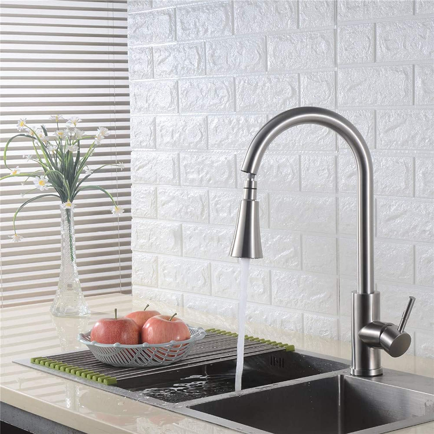 Oudan 304 Stainless Steel Multi-Function Pullout Kitchen Sink Faucet Caipen Hot and Cold Water Faucet Two Tranches (color   -, Size   -)
