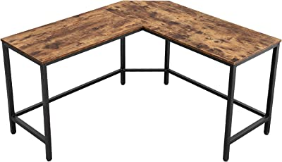 VASAGLE Computer Desk, L-Shaped Corner Desk, Study Writing Workstation for Home Office, Gaming Desk, Industrial Style PC Laptop, Space-Saving, Easy to Assemble, Rustic Brown ULWD71X