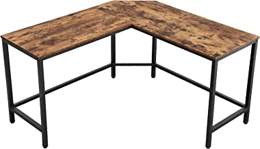 VASAGLE ALINRU Computer Desk, L-Shaped Corner Writing Desk, Space-Saving Study Desk, Gaming Desk for Office, Easy to Assemble, Industrial, Rustic Brown ULWD71X