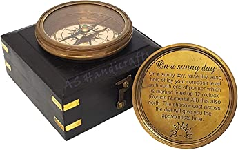 A S Handicrafts Steampunk Accessory - Golden Brass Finish Sundial Compass with Wooden Box