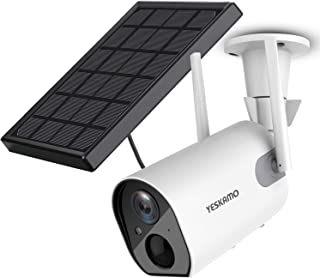 Solar Security Camera Wireless - Outdoor Rechargeable Battery WiFi Camera, YESKAMO 1080P HD Video Solar Powered IP Cameras...