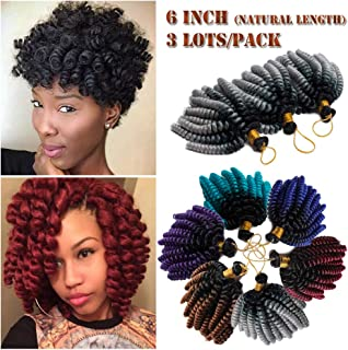 6 Inch Wand Curl Crochet Twist Braids 20 Roots Jamaican Toni Bounce Curly Braiding Hair for African American Black Women 3Lots/pack 180g-Black to Sliver Grey