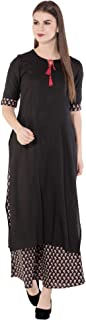 Amayra Women Rayon Straight Kurti With Palazzos(Black & Brown)