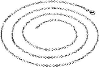 45cm 2mm ?? Chaîne à maillons en forme de cercle ovale avec fermoir mousqueton