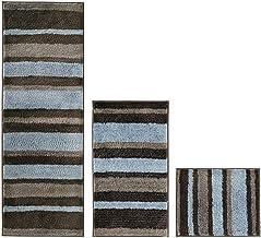 mDesign Stripes Microfiber Bathroom Shower Accent Rug Spa Standard & Short - Set of 3 Mocha/Gray