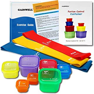 GAINWELL Portion Control Container Kit & Lightweight Workout Resistance Band Set with Exercise Guide & Recipes for 21 Day...