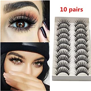 Oksale® 10 Pairs Thick Long Cross Party False Eyelashes Black Band Fake Eye Lashes