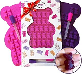 UNIQUE Extra Large Gummy Bear Mold - 2 Big Molds + 2 Bonus Droppers - Durable BPA Free Silicone -