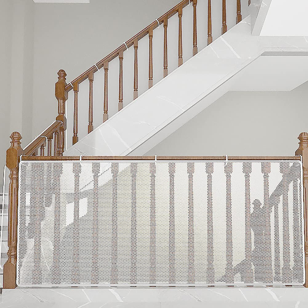 Baby Railing Net Stair Safety Net Banister Mesh Guard Child Proof Balcony Net for Kids Pets Toys(15ft x 3ft White)