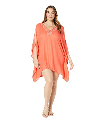 Lucky Brand Plus Size La Quinta Tunic Swing Dress Cover-Up (Hot Coral) Women
